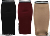 Womens New Ladies Pencil Plain Bodycon Stretch Elasticated Waist Band Skirt 8-14