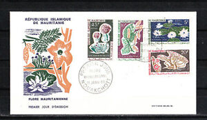 Mauritanie-enveloppe-1er-jour-serie-fleur-flore-1965