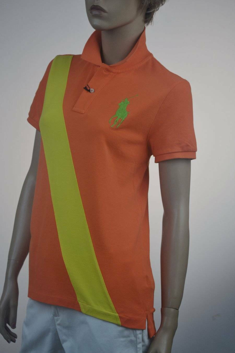 Ralph Lauren Orange Big Pony Skinny Polo Shirt Lime Big Pony-Large- NWT