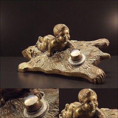 Rare French Art Nouveau Bronze Servants Buzzer Bell Doorbell Baby Bear Skin
