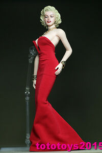 1:6 Scale Woman Marilyn Monroe red dress for 12