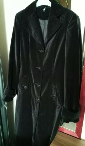 Kvinders Velour Black Size Long S Coat rRrFpq