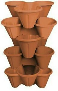 6-X-Strawberry-Planter-Trio-Plastic-Pot-Stacking-Herbs-Flowers-Plant-Pots