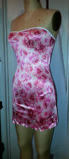Satin Lycra Pink Roses Sweetheart Princess Tube Mini Dress Purse Stripper Outfit
