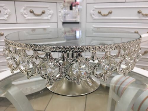 Cake Stand With Crystal Beeds In Silver