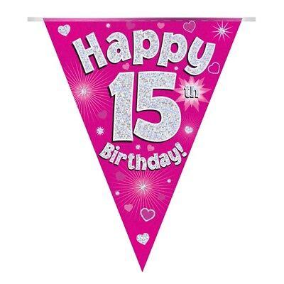 Temperato Cuori Rosa Olografico Felice 15th Compleanno Bandiera Striscione Di Bandierine | | Decorazione-mostra Il Titolo Originale