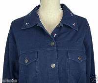 Lg Qvc Denim & Co. Stretch Pique Embroidered Jacket Coat Shirt Embr Red White