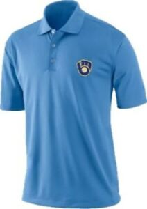 Milwaukee Brewers Mlb Mens Vintage Logo Dri Fit Polo Golf Shirt Big