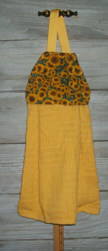 Sunflowers Yellow Gold Packed Sage Leaves Hanging Kitchen Oven Fridge Towel