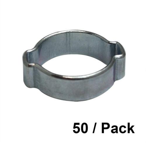 50//PK 11-13 mm Zinc Plated Double Ear Steel Automotive//Hand Tool Hose Clamp