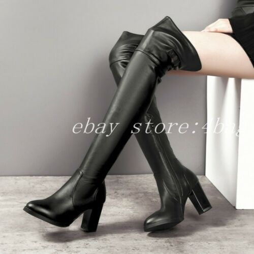 Womens Occident Over Knee Boots Biker Stretchy Block Heels Riding Shoes Buckles