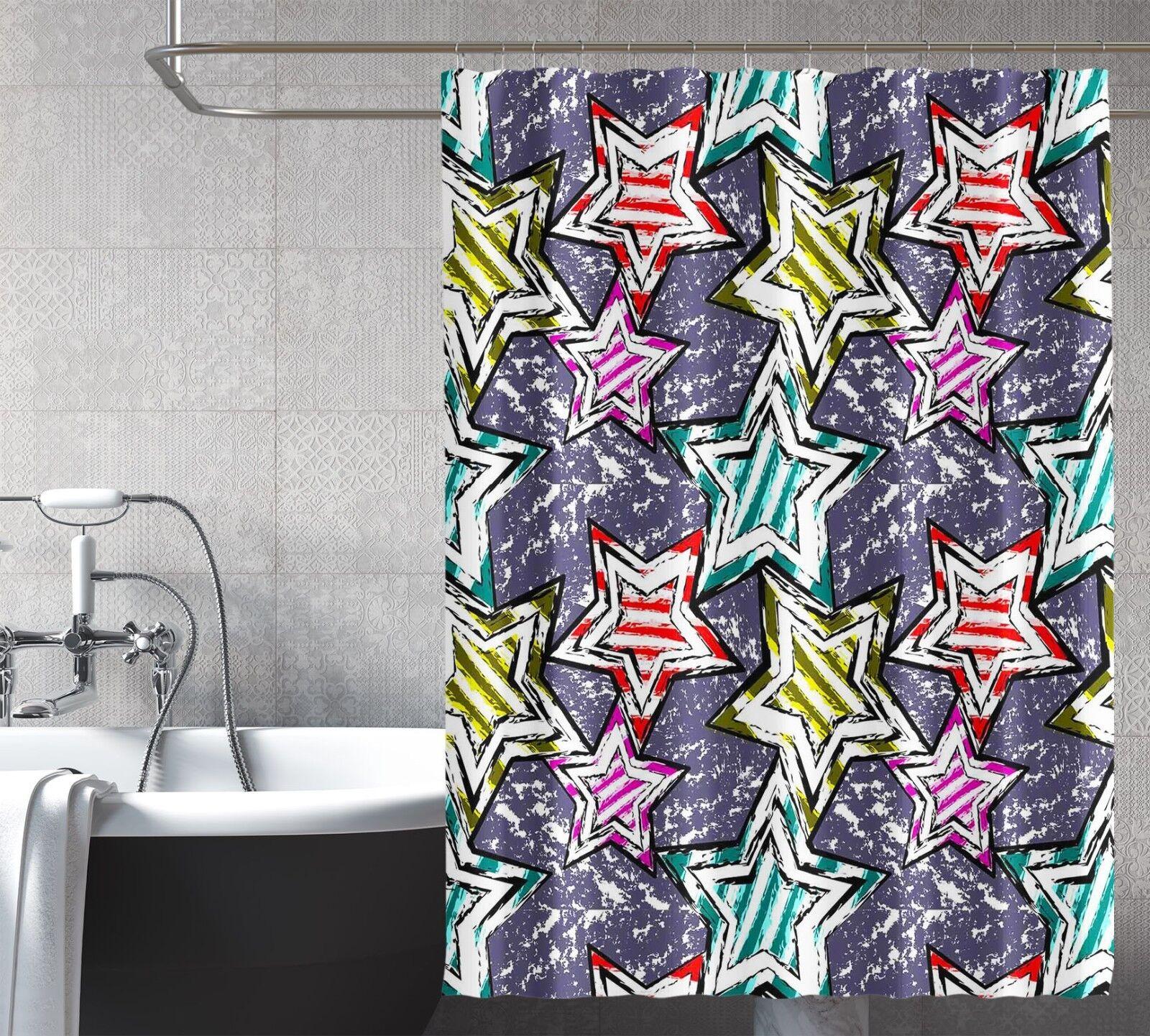 3D STAR peinture 25 Rideau de Douche Imperméable Fibre Salle de Bain Home Windows Toilette