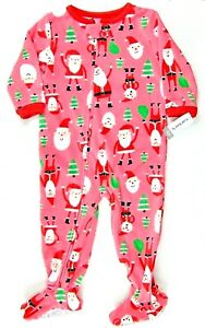 f5dddb428 Carters Girls Pajamas Pink Xmas One-Piece Footed Sleeper Fleece ...