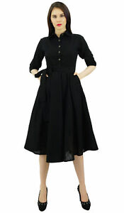 s-3-4-Sleeve-Linen-Black-Collar-Neck-Solid-Flared-Shirt-Dress-with-Side-Pockets