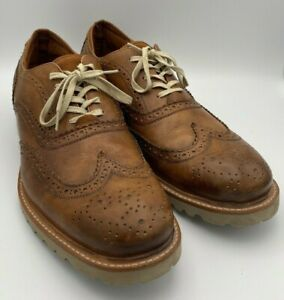 Kenneth-Cole-Mens-Leather-Oxford-Lace-Up-Casual-Dress-Shoes-Brown-Sz-10-5-US