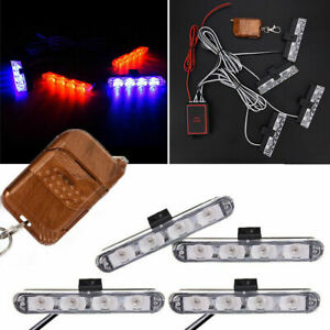Coche-12V-Rojo-Azul-LED-Strobe-Flash-De-Luz-16LED-Lampara-de-Advertencia-de-seguridad-intermitente