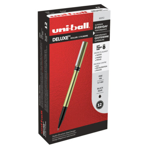 0.7 mm Black Ink Uniball Deluxe Rollerball Pen