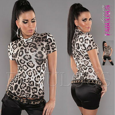 Sexy Women's Top Size 10 8 6 Leopard Print Turtleneck Shirt Party Casual XS S M