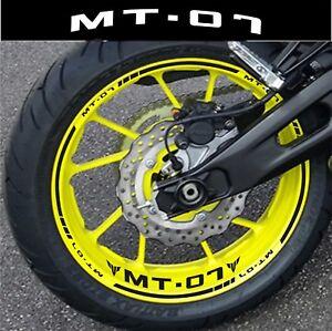 LISERETS JANTES MT07 MT 07 STICKERS  MOTO kit pour 2 jantes 40 Colors