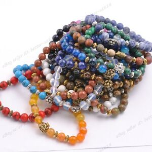 8MM-Natural-Gemstone-Round-Beads-Lion-Head-Stretchy-Bracelets