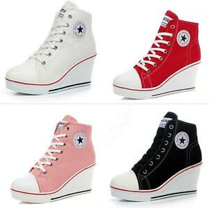 Popula-rWomen-Shoes-Canvas-High-Top-Wedge-Heel-Lace-Up-Fashion-Sneakers-US-6-9