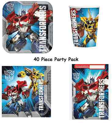 TRANSFORMERS PARTY SUPPLIES PACK OF40, 8 PLATES, 8 CUPS, 16 NAPKINS, 8LOOT BAGS