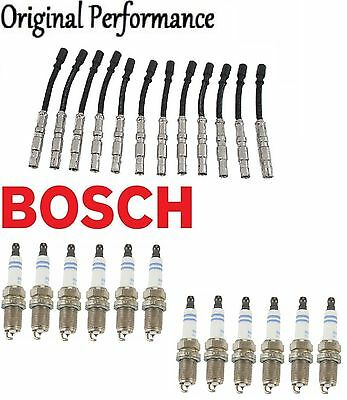 For Mercedes W208 W210 Bosch 16 Spark PlugS /& OPPARTS Ignition Wire Set KIT
