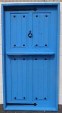 RUSTIC SOLID wood DOOR reclaimed lumber wrought iron Pre hung jamb DUTCH BLUE