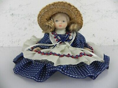 BAMBOLA DI PORCELLANA in con cappello di paglia da collezione vintage | eBay