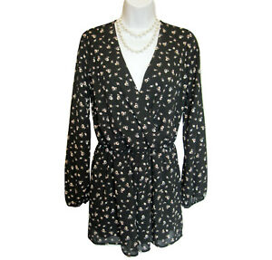 Floral-ROMPER-Size-M-Everly-For-Francescas-One-Piece-Shorts-Black-Long-Sleeve