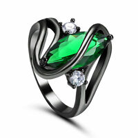 SZ 5.5 Marquise Cut Emerald Wedding Ring 10Kt Black Gold Filled Valentine Gift