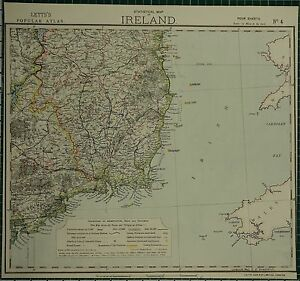 Lighthouses In Ireland Map.1883 Letts Map Ireland South East Waterford Tipperary Wicklow