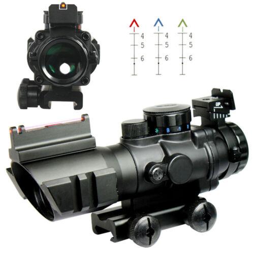 Tri-Illuminated Chevron Recticle Fiber Optic Sight 4X32 Tactical Rifle Scope