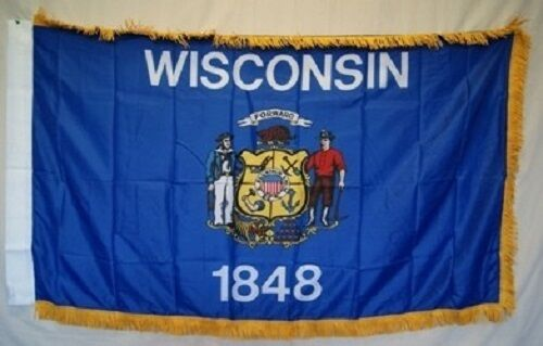 3x5 Wisconsin State Poly Nylon Sleeve w// Gold Fringe Flag 3/'x5/' Banner