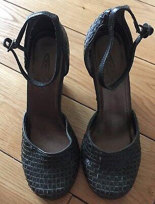 Caqui Cuña Tacón Alto Zapatos Talla 4