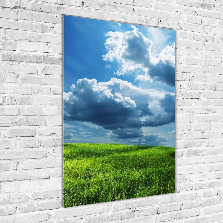 Wand-Bild Kunstdruck aus Acryl-Glas Hochformat 70x100 Feld Wolken