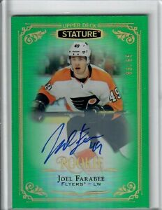 19-20-UD-Stature-Joel-Farabee-Green-Rookie-Auto-114-83-of-85-Flyers-SP-RC