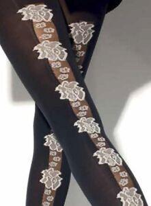 3e89112ed4f Girardi Emeline Fashion Black Tights With Gray Flower Pattern Design ...