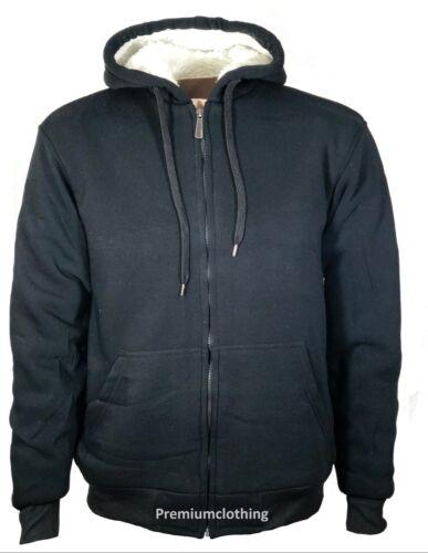 Mens Womens Hooded Fur Sherpa Fleece Jacket Thermal Thick Warm Work Winter Coat