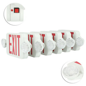 LED-EXIT-Sign-amp-Emergency-Light-RED-Compact-Combo-SMD2835-Fire-Safety-6-Pack-USA