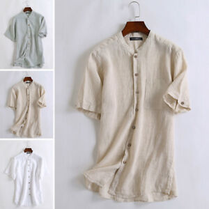 Mens-Linen-Short-Sleeve-Shirt-Collarless-V-Neck-Grandad-Beach-Causal-Blouse-Tops