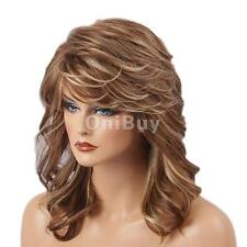 Attractive Women Lady Mid-length Layered Curly Wig with Free Wig Cap Golden
