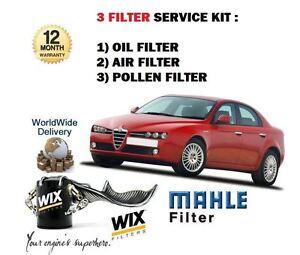 pour-Alfa-Romeo-159-1-9-2-2-JTS-Essence-2005-gt-air-huile-Le-Pollen-3-Kit-filtre