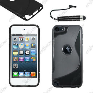 Housse-Etui-Coque-Silicone-S-line-Gel-Noir-Apple-iPod-Touch-5G-Mini-Stylet