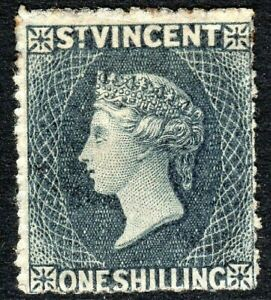 St Vincent 1862 slate-grey 1/- no watermark perf 11/12.5  x 14/16 mint SG11