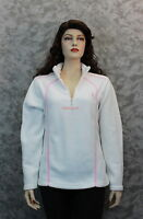 Izod Perform X Breast Cancer Fleece Pull Over - White & Pink - Size Small