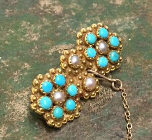 Antique-victorian-Persian-turquoise-seed-pearl-gold-brooch-18ct-5g