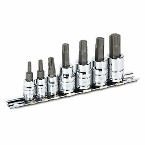 Powerbuilt-7-Pc-Torx-Bit-Socket-Set-Star-Bit-1-4-034-and-3-8-034-Drive-648414