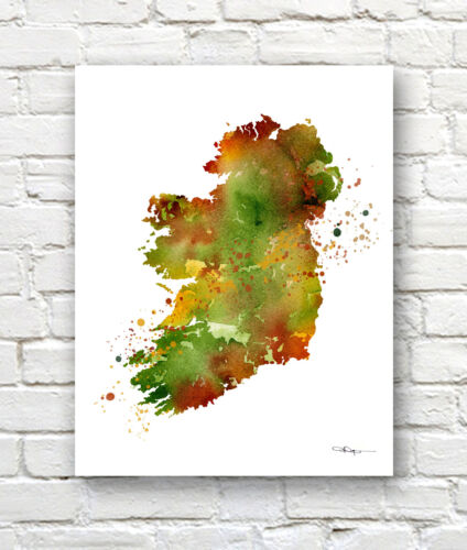 IRELAND MAP Contemporary Watercolor Abstract ART Print by Artist DJR