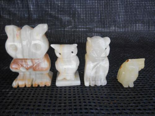 Old Vtg ALABASTER Marble OWL FIGURINE Set 4 Spooky Evil Creepy Knick Knacks